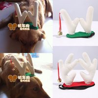 Wholesale 2015 Christmas reindeer antlers horn dog pet accessories Christmas Hat For Pet Dog Christmas Apparel Dog Antlers Hat Cap