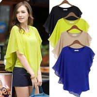 blouse free size - 1PC Top Quality Women s Plus Size XXXL Clothing Blouses Shirts Chiffon Flouncing Bat sleeve Blouse Ladies O neck Tops Free CW14209