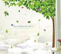 big plastic trees - Factory Price The Green Leaves Removable Art Big Tree Wall Stickers Home Decor Mural Butterfly wall Decal home decoration