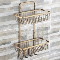 antique corner shelves - Free shiping antique bronze copper tier bathroom organizer shower caddy decorative wall shelves with hooks bath hardware set