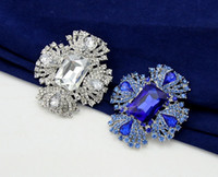clear glass ornaments - Blue Clear Boutique Royal Brooch Pin Women Wedding Glass Crystal Rhinestone Alloy Brooch Pin White Gold Plated Jewelry Clothes Ornaments