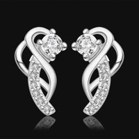 america supplier - 2015 fashion jewelry sterling silver studs earrings for women piercings crystal Gold Supplier decade foreign trade in Europe and America