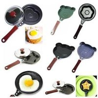 Wholesale 10pcs Hot Black Maroon Kitchen Cartoon Bear Face Shaped Non Stick Eggs Pancake Frying Pan
