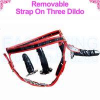 black dildo - black red Removable Strap On Dildo with Three Dildo for Lesbian s sex game