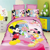 Cheap Boy girl Kids Bedding Sets 4 pieces bed linen Anime Bedding Sets Mickey And Minnie queen full size Duvet Cover Set Bedspreads BedLinen Mouse