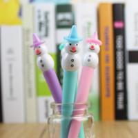 Wholesale 144 Promotion gift Cartoon Snowman Gel ink pen set mm Pens for kids caneta Korea Stationery school supplies