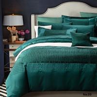 al por mayor colcha de seda de la reina-Ropa de cama de diseño de lujo set edredón funda edredón azul verde colchas algodón seda sábanas ropa de cama completa reina tamaño king doble