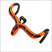 Precio de Carbono especial-KF especiales! Llena de la fibra de carbono camino de la bicicleta del manillar integrado con el vástago del camino del carbón del manillar de la bici de piezas de 28,6 mm de Orange KF-08