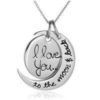 Wholesale 10STYLE Fashion Two Piece I Love You To The Moon and Back Silver Gold Pendant Necklace Women Girls Gift