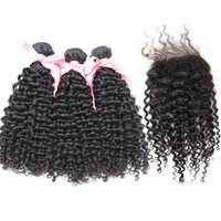 Wholesale Hair Bundles With Top Closure Buy Hair Wefts Get Free pc Curly Wave Lace Front Closure Malaysian Deep Curly Hair Bundles Human Hair Weave