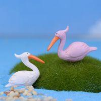 Wholesale Mini World Landscaping Accessories Home Garden Decoration Artificial Flamingo Fairy Garden Gnome Bird Ocean Sea Egret