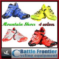 Zapatos 4color bicicleta de montaña Sidebike ciclo de la bicicleta MTB zapatos de los hombres respirables conducción deportiva zapatos atléticos de la zapatilla de deporte US7.5-13
