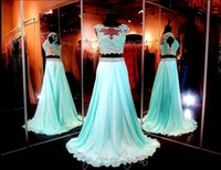 aqua long prom dresses - Aqua Lace Two Piece Long Party Dresses Crop Top Chiffon Skirt High Illusion Neckline Appliques Evening Dresses Prom Gown Formal