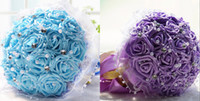 Wholesale High Qualith Artificial Blue Wedding Bouquets Holding Flowers Purple New Bridal Bouquet Wedding Accessories Brooch Crystal beaded Cheap