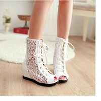Wholesale Big Size Fashion Women Gladiator Inside Wedges Round Toe Brand New Casual Dress ankle summer boots lace up sandle