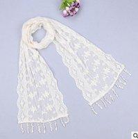 Wholesale 500PCS LJJL25 Lady Triangle Lace Silk Scarf New Fashion Scarf Tassel Flower Lace Scarves Wrap Shawl Mantilla