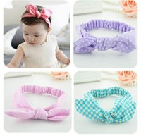 band export - baby girls bow knot dot stripe head band export lovely kids cotton rabbit elastic hair ribbons