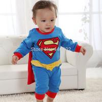 Wholesale Hot Sale Baby Romper Superman Long Sleeve Baby Dress Smock Infant Romper Halloween Costume new arrival
