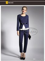 Cheap 2014 autumn fashion new women pant suits womens black suits with pants women business suits formal office suits work OL dress with full size