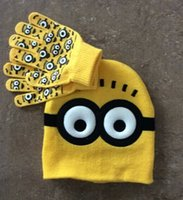 cotton knitted gloves - 2016 Winter Cute Minions Children s Hats Gloves Set Despicable Me Warm Knitted Kids Christmas Gifts Caps Printed Eyes Crochet Hats for Baby