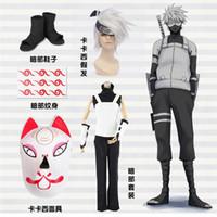 anbu cosplay - Japanese Cartoon Anime cosplay Naruto Anbu Kakashi Cosplay Costume Shirt Vest Pants armguard Mask Shoes Wig