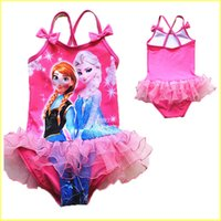 bodysuit - 2015 New Baby Girl Frozen Swimsuit Summer Princess Bikini Anna Elsa Beach Swimsuit One Piece Swim Bodysuit Pink Lace Bodysuit Tutu Swimsuit
