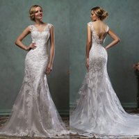 Wholesale Lace Applique V Neck Mermaid Wedding Dresses Amelia Sposa Backless Cap Sleeve Court Train Bridal Gown Custom Made EN71512