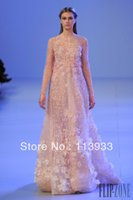 Cheap 2014 New Arrival Fashion Sexy Luxury Elie Saab Lace Gold Crystals Long Sleeves Flowers Long Evening Prom Dress Gown Custom Made