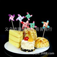 Wholesale Mini birthday party series windmill toothpick inserted card decorative cupcakes decorated flags will turn windmill