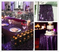 Wholesale Round Purple Christmas Wedding Banquet Birthday Party Use MM Sequin Table Cloth Inch Inch inch Inch Inch