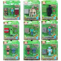 Wholesale Minecraft toys cm minecraft stone box Blister packaging pendant keychain sword pickaxe and steve JJ creeper action figures model toys