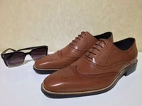 Wholesale Calfskin genuine leather business gentleman lace ups mens oxfords dress shoes in brown PD393 br