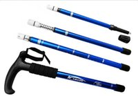 Wholesale 4 Color AntiShock Joint Adjustable T handle Aluminum Hiking Cane Hiking Mountain Walking Stick Trekking B