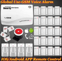 Wholesale EMS DHL Free New Wireless GSM home Door Burglar Voice alarm Security system IOS Android App Remote Control Setting Arm Disarm