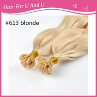 """Cheap best quality 16""""18""""20""""22""""24"""" 100g standard 1g s Natural Italian keratin Capsule prebonded #613 blonde flat tip remy human hair extensions"""