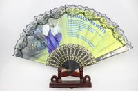 plastic hand fan - R H New women s Christian church hand fans plastic ribs with lace black color inches drop shipping hot sale