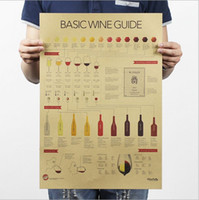 art wine tasting - 2016 Wine tasting Guide drawing Kraft poster brown paper bar coffee shop decoration painting x35 cm stickers for kids