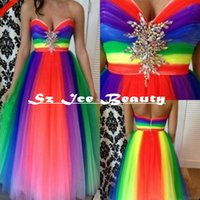 Wholesale Rainbow Color Long Prom Dresses A Line Floor Length Sweetheart Sleeveless Crystal Beaded Tulle Party Evening Dress Gowns Custom Made
