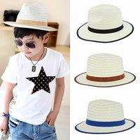 cowboy hats kids - Children Visor Sun Summer Beach Straw Cowboy Jazz Hats Kids Unisex Stringy Brim Panama Fedora Caps Disco Sunhat Colors Choose EUX
