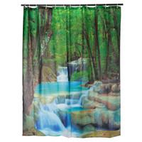 best landscape fabric - Best Promotion Romantic Design x180cm D Waterproof Landscape Waterfalls Bathroom Shower Curtain Fabric With Hooks