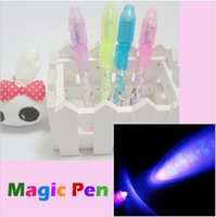 Wholesale New arrival Plastic Invisible Ink Spy Pen Light Combo Secret Message Magic Marking Pen Torch Flashlight Gifts Toy