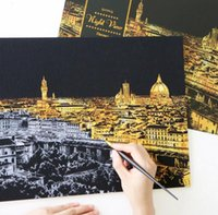 Wholesale scratch night view coloring books Postcard Night World Building Abroad Scraping Scratch Videos Drawing World Sightseeing painting kit