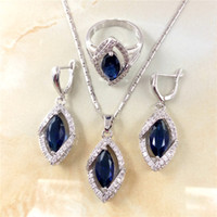 Wholesale Pretty Blue Sapphire Sterling Silver Jewelry Sets Pendant Chain Necklace Earrings Ring For Women Free Jewelry Box