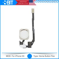 Wholesale For iPhone S Home Button Flex Cable Ribbon Replacement Repair Parts Original Black White Gold Free Fast Shipping