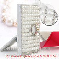 n7000 tpu - 3D Luxury Bling for samsung galaxy note N7000 I9220 Flip Bling leahter skin bag mobile phone case cover Diamond crystal holder wallet case