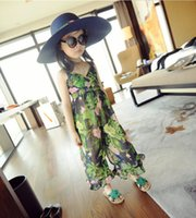 Wholesale 2015 new Summer Kids Jumpsuits Hot Sale Lovely Casual Sets with Printed Flowers Children s Casual Trousers