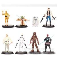 DHL New 10cm Star Wars Mini PVC action figure jouets Poupées Jedi Chewbacca Etc Clone Wars 8pcs / setC194