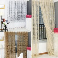 Wholesale New Arrival Noble Window Screens Tulle Bronzing Flower Door Curtain Panel Sheer Scarfs MTY3