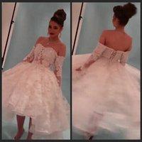 beach model photos - Real Photos vestido de novia Short Bridal Gowns Yousef Aljasmi Myriam Fares Ball Gown Long Sleeve Lace Wedding Dresses