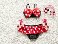 Wholesale Beach supplies Hug Me New Korean Mini Baby Girls Bikini Kids Girl Swimwear Baby Swimsuit Ruffle Bow Princess Three Pieces Swim Cute Clothing